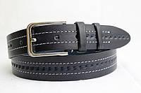 Ремень кожаный классический 40 мм синийй с белой ниткой