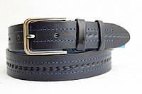 Ремень кожаный классический 40 мм синий с синей ниткой