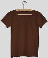 """Футболка женская """"Ego"""" с глубоким вырезом WFS 100% хлопок цвет коричневый"""