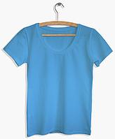 """Футболка женская """"Ego"""" с глубоким вырезом WFS 100% хлопок цвет голубой"""