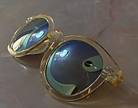 Очки солнцезащитные зеркальные Желтые  унисекс