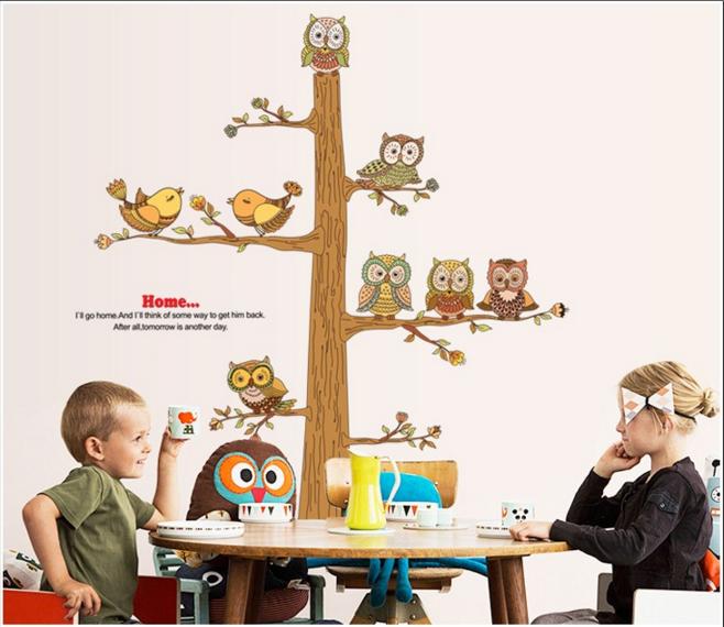 """Наклейка на стену, виниловые наклейки """"сказочные совы на дереве"""" 116*120см (лист 90*60см)"""