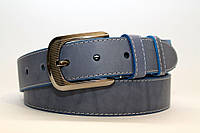 Ремень кожаный класический 40 мм голубой с белой ниткой