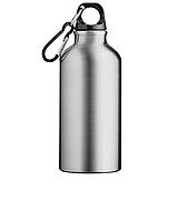 Спортивная бутылка с карабином Серая, 400мл