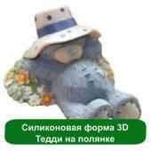 Силиконовая форма 3D Тедди на полянке