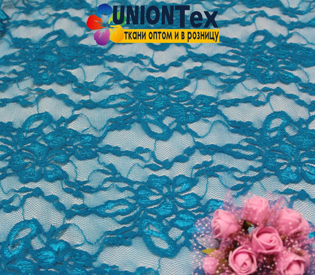 Ткань гипюр стрейчевый голубая бирюза