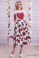 Летняя женская юбка из льна солнце клеш с завышенной талией цветы 42-48 размера
