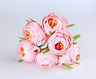 Эустома с тычинками из ткани Розовая диаметр 5 см 6 шт/уп