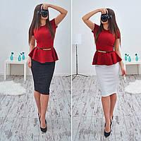 Красивый костюм в расцветках юбка+кофта баска АМС-04.030