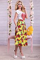 Летняя женская юбка из льна солнце клеш с завышенной талией цветы 42-48 размера, фото 1