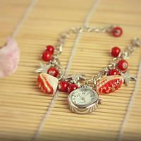 Модные стильные  Женские часы браслет ракушка красные бусины цепочка