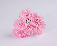 Астра Розовая с матовыми тычинками из ткани диаметр 3.5 см 6 шт/уп