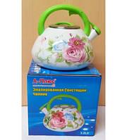 Чайник эмалированый 3,2 л цветы, 2053 A+