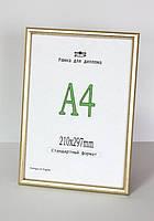 Рама пластиковая  А4 формата для оформления дипломов, металлического золотого цвета