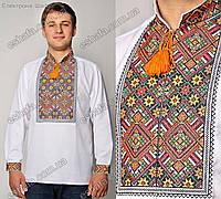 Мужская  вышитая рубашка крестиком (западный стиль) ткань -домотканое полотно