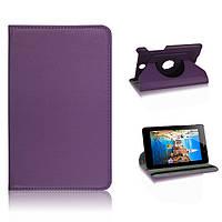 Вращающийся фиолетовый чехол для ASUS FonePad ME371 MG из синтетической кожи.