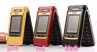Телефон раскладушка на 2 сим-карты Tkexun F666 Duos Sim металлический корпус