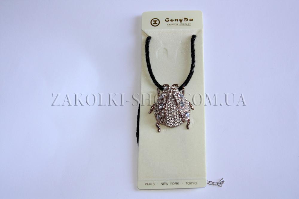Бижутерия; Кулон жук на кожаной веревке, 1 штука
