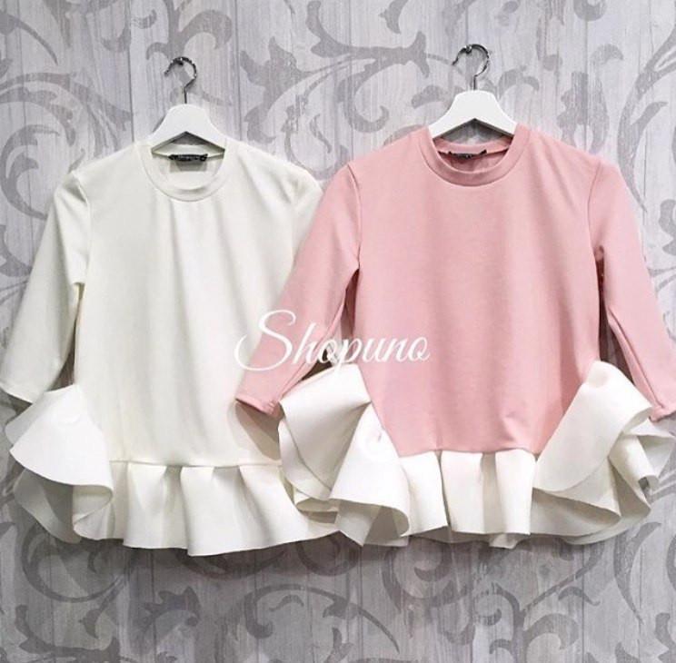 Блуза с рюшей по низу