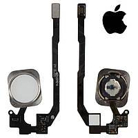 Шлейф для iPhone 5S, кнопки меню, белый, оригинал