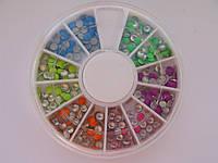 Металлостразы для ногтей 2мм, 3мм, 6 цветов