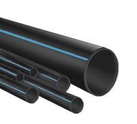 """Труба полиэтиленовая 63*6,8 мм 10 атм черная с синей полосой фтор сырье """"ВорсклаПласт"""""""