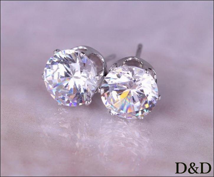 Серьги - гвоздики белые серебро