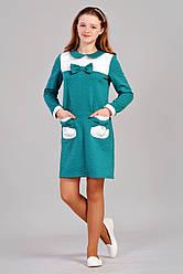 Бирюзовое подростковое платье с елегантным бантом 146,152,158