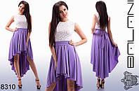Женское летнее асимметричное платье с гипюровым верхом.