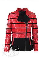 Красная кожаная куртка (размер S), фото 1