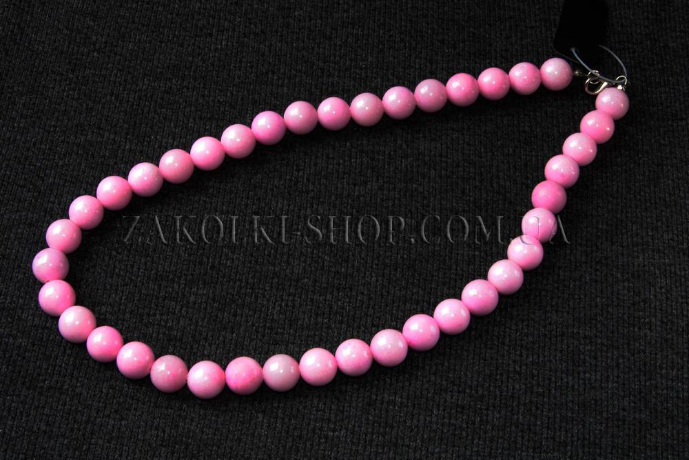 Бижутерия оптом; Бусы из натурального камня розовый кварц, 1 штука