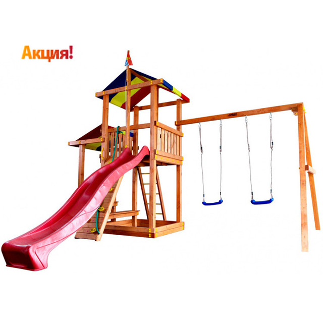 Детская площадка с качелями из пластика