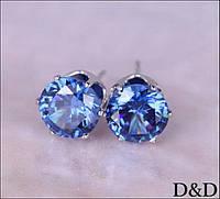 Серьги - гвоздики голубые серебро