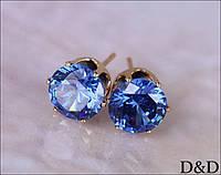Серьги - гвоздики голубые золото