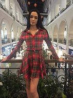 Платье -рубашка с поясом с-4049