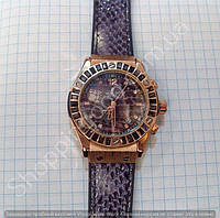 Часы Hublot Big Bang Boa Bang 113895 рептилия женские с календарем золотистые на фиолетовом каучуковом ремешке