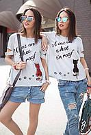 Женская футболка с разрезами Kitty