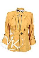 Желтая кожаная куртка (размер L), фото 1