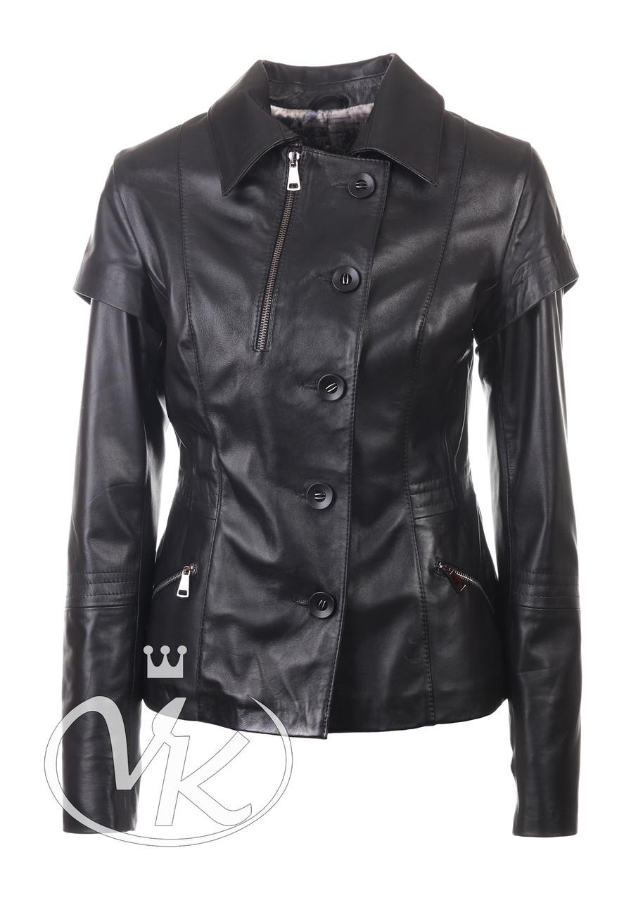 Кожаная куртка жилетка черная женская 44 размера (Арт. VK202)