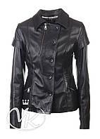 Черная кожаная куртка-жилет (размер S)