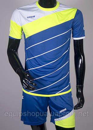 Футбольная форма Europaw 008 сине-салатовая, фото 2