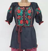 Женская вышитая туника с поясом 629 Красная Роза, интерлок, р.р. 40-62