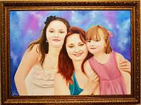 Семейный портрет по фотографии маслом на итальянском холсте
