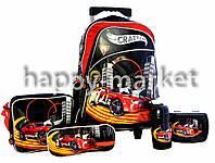 Набор детский чемодан - рюкзак + сумка + пенал + ланчбокс + бутылка, Машина Crazy Car 1958DSCN