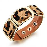 Кожаный браслет женский с леопардовым принтом, фото 1