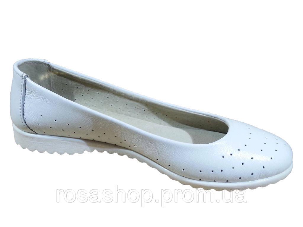 f991e4dc1 Балетки женские натуральная кожа белые перфорированные (124), цена 460  грн., купить в Хмельницком — Prom.ua (ID#283746632)