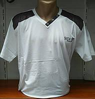 """Мужская футболка белая """"плечики"""" большой размер"""