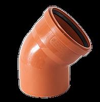 Колено канализационное 110/45 для наружных работ Европласт