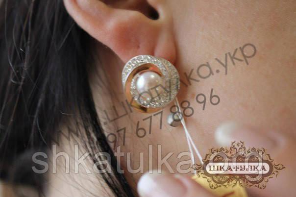 Серебряные серьги с золотом, жемчугом и фианитами