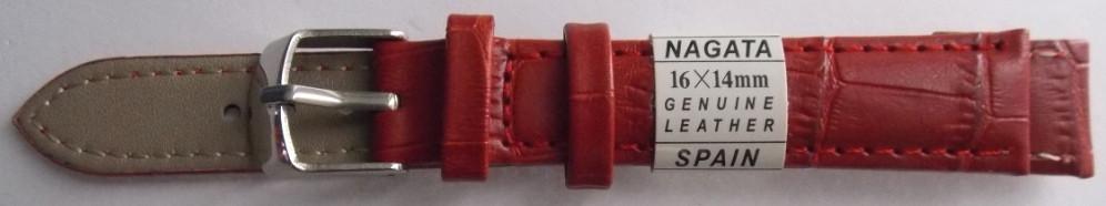 Ремешок кожаный NAGATA (ИСПАНИЯ) 16 мм, красный